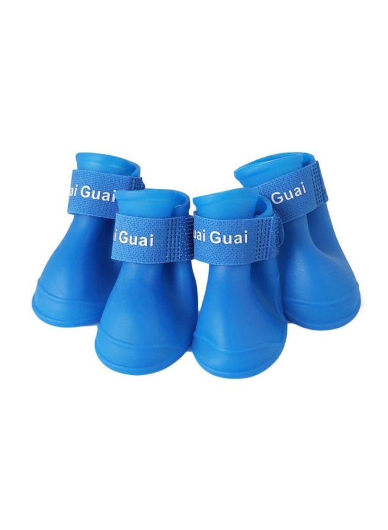 4-Piece Silicone Rain Boots Blue