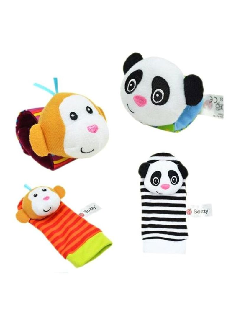 4-Piece Infant Socks And Wrist Rattles Soft Toys