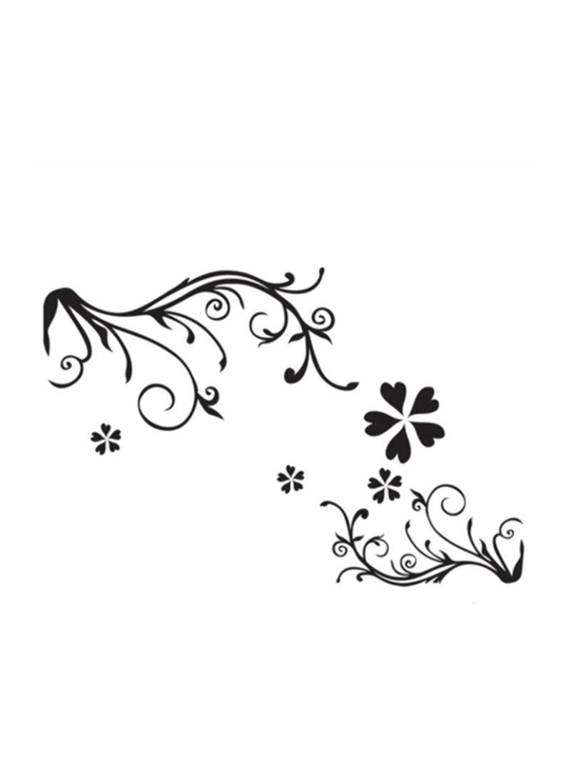 Vine Flowers Printed Decorative Wall Sticker Black 60x90 centimeter