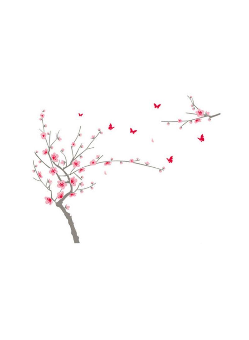 Sakura Flowers Printed Decorative Wall Sticker Pink/Brown 90x60 centimeter