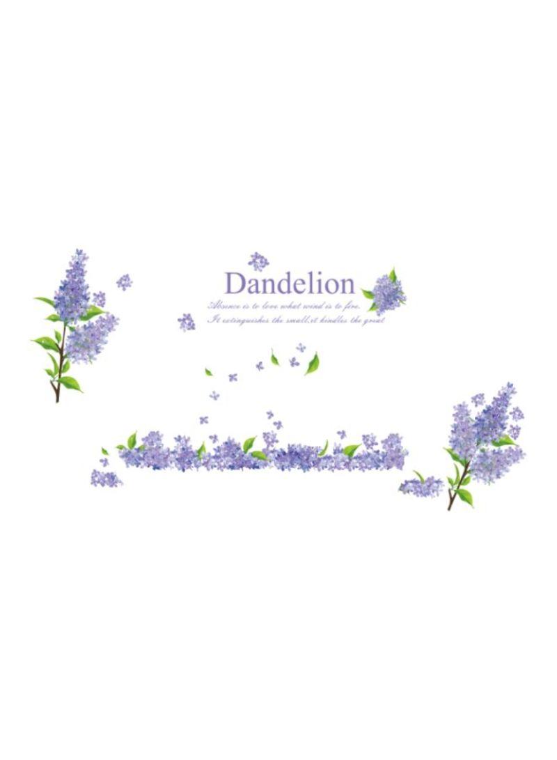 Lavender Flowers Printed Wall Sticker Purple/Green 60x90 centimeter
