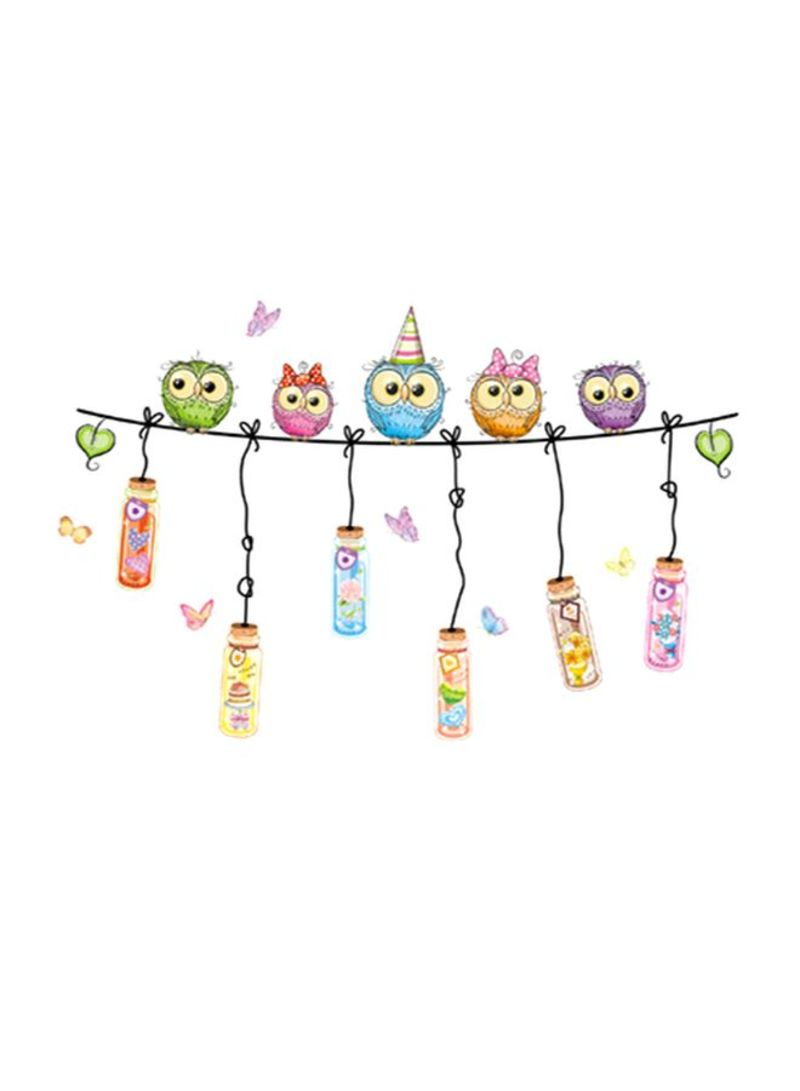 Owls Drift Bottles Printed Wall Sticker Purple/Green/Blue 60x90 centimeter