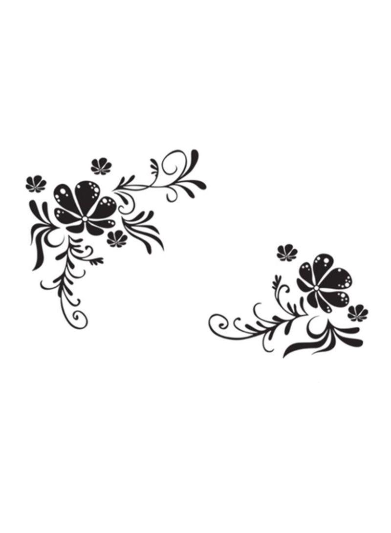 Black Flowers And Flower Vines Printed Decorative Wall Sticker Black 60x90 centimeter