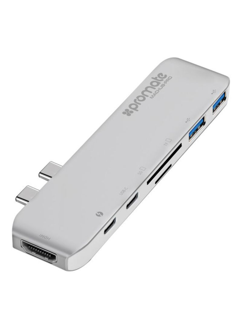 MacHub-Pro 7-Port Type-C USB Hub For Apple MacBook Pro Silver