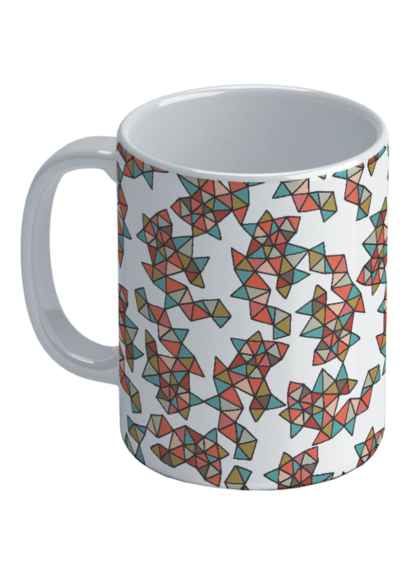 Valentina Flowers And Triangles Printed Coffee Mug White/Red/Blue 8.2x9.5 centimeter