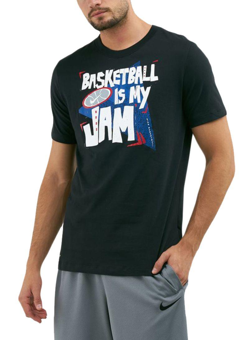 Dry Basketball Jam Printed T-Shirt Black/White/Blue