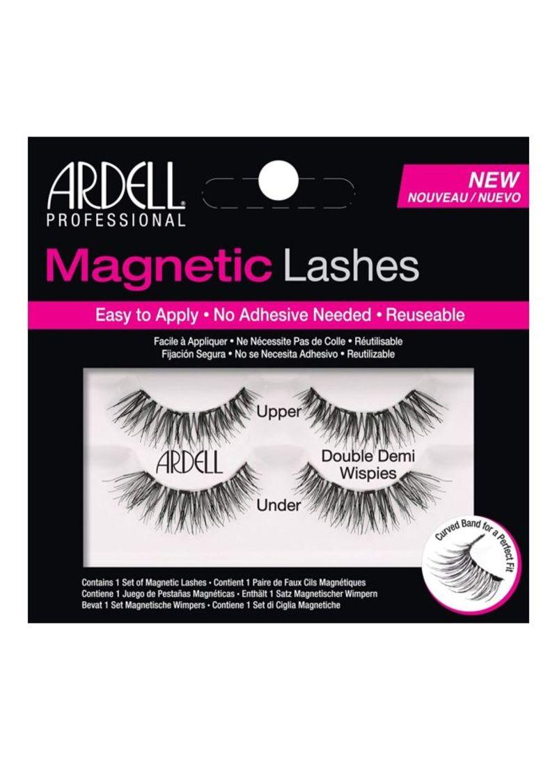 Pair Of 2 Magnetic Double Strip False Eyelashes Set Black