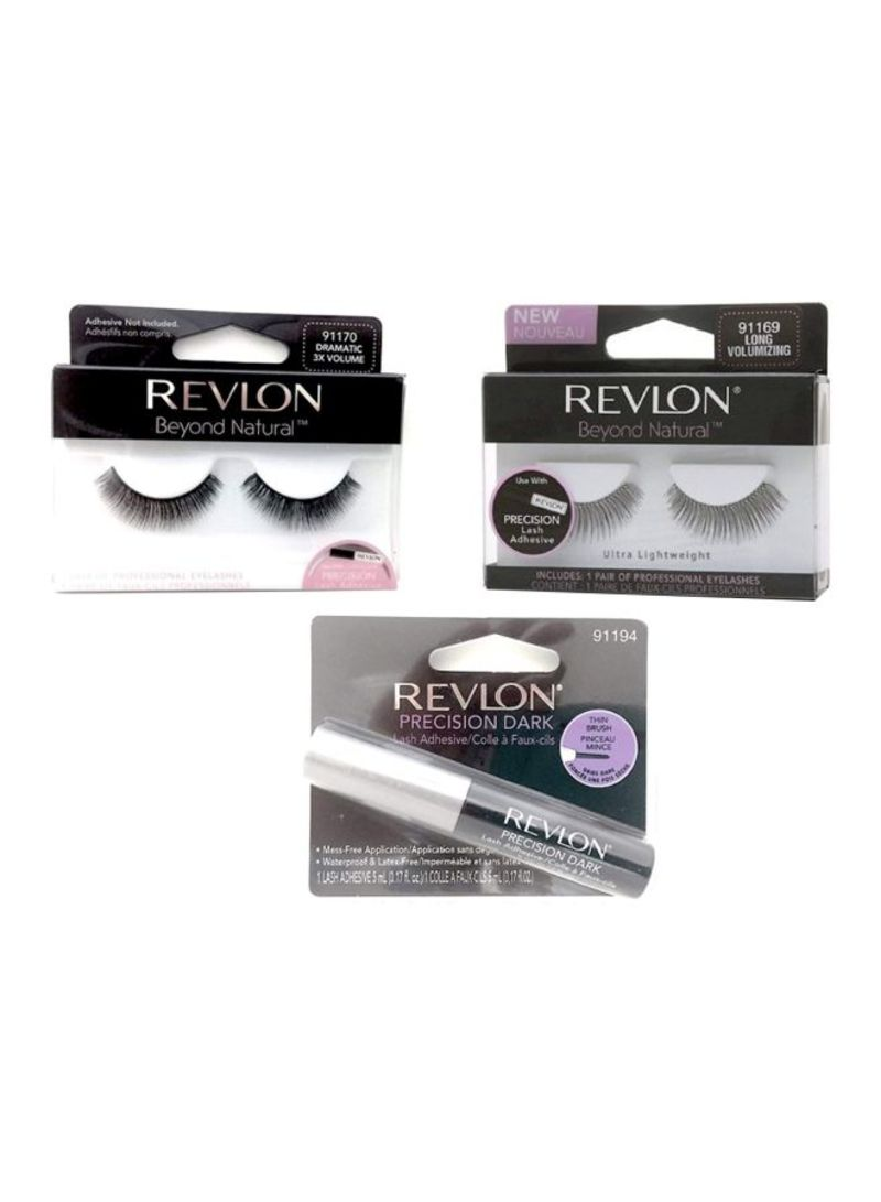 Pair Of 2 Beyond Natural Eyelashes With Precision Dark Lash Adhesive Set Black