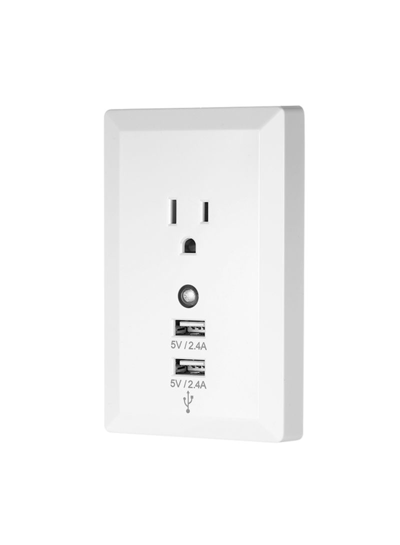 Socket Wireless Home Plug Socket with Night Light Adaptor Plug with USB Interface White 0.166 kg