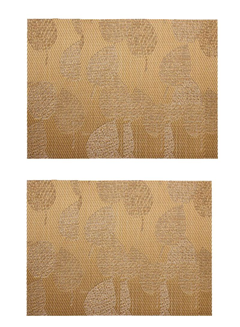 2-Piece Leaf Design Table Placemats Gold 18 x 12 inch