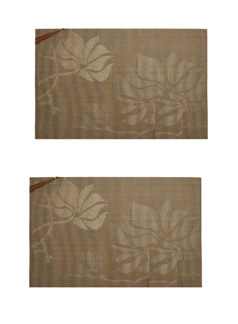 2-Piece Flower Design Table Placemats Brown 18 x 12 inch