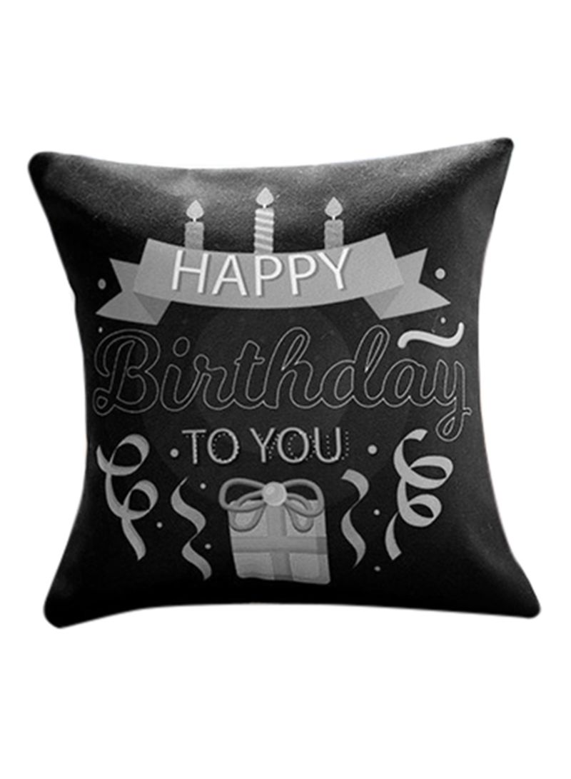 Birthday Candles and Gift Cushion Black 10x11 inch