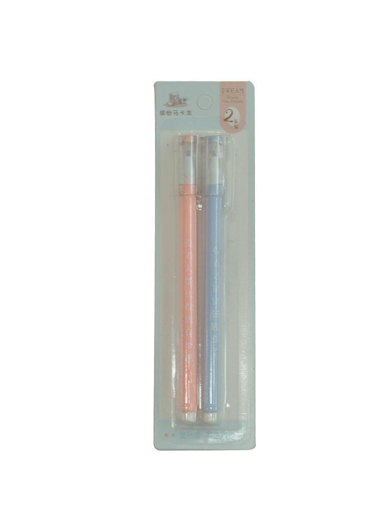 2-Piece Gel Ink Pens Blue/Pink