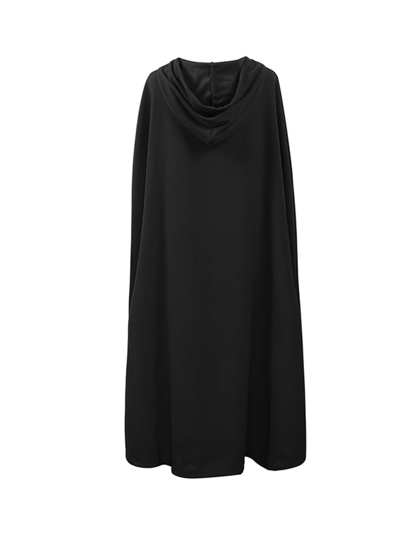 Casual Winter Cloak Hooded Sleeveless Button Closure Long Cape Costume Cosplay Outerwear Black
