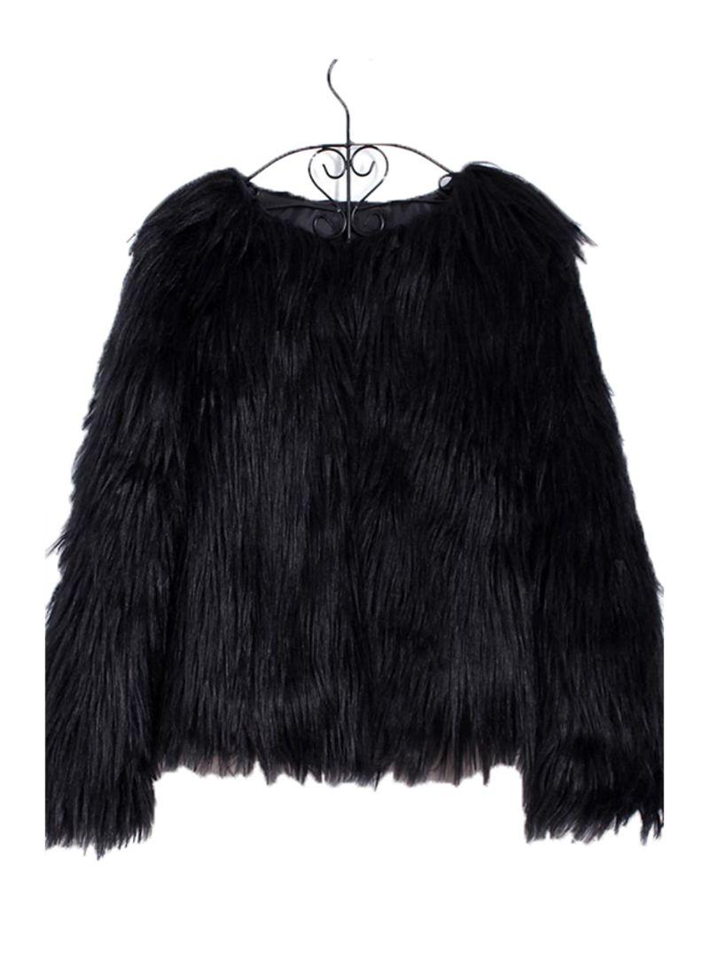 Winter Faux Fur Coat Solid Color Long Sleeve Fluffy Outerwear Short Jacket Hairy Warm Overcoat Black