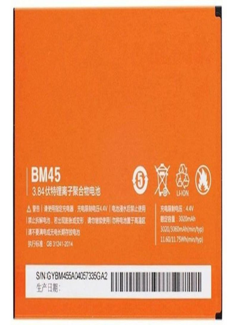 Replacement Battery For Xiaomi Hongmi Redmi Note 2 BM45 Orange/White 3020 mAh