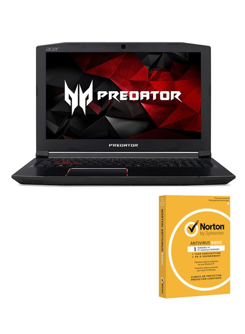 Predator Helios Gaming Laptop With 15.6-Inch Display, Core i7 Processor/16GB RAM/2TB HDD+256GB SSD Hybrid Drive/6GB NVIDIA GTX1060 Graphics Card/Arabic Keyboard And Norton Antivirus Black