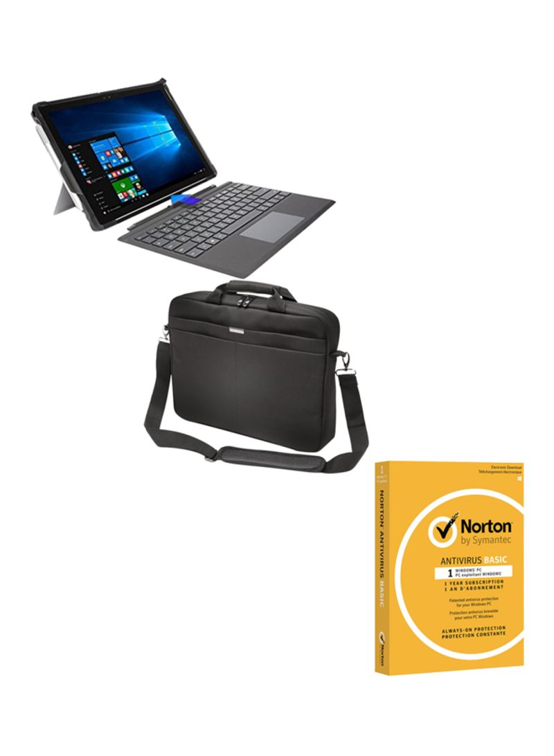 Surface Pro LTE (2017) Convertible 2-In-1 Laptop With 12.3-Inch Display, Core i5 Processor/4GB RAM/128GB SSD/Intel HD Graphics 620 With Surface Pro English Keyboard/Keningston-Blackbelt 2nd Degree Rugged Bag And Norton Antivirus Gunmetal