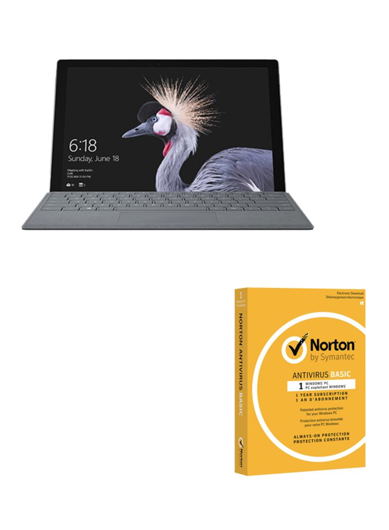 Surface Pro Convertible LTE Laptop With 12.3-Inch Display, Intel Core i5/4GB RAM/128GB SSD/Intel HD Graphics 620 With Microsoft Surface Pro Signa TypeCover KeyBoard And Norton Antivirus Silver