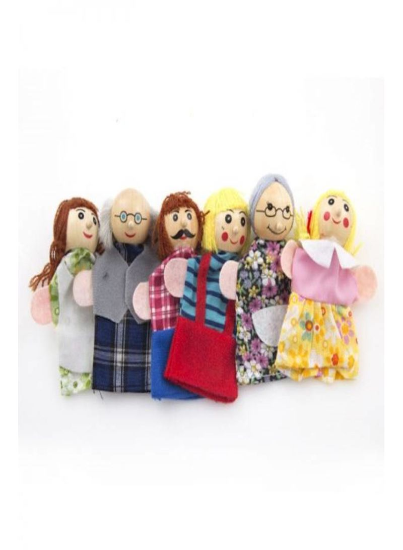 6 Pcs Family Finger Puppets Cloth Doll Educational Hand Toys Gift For Baby Kids