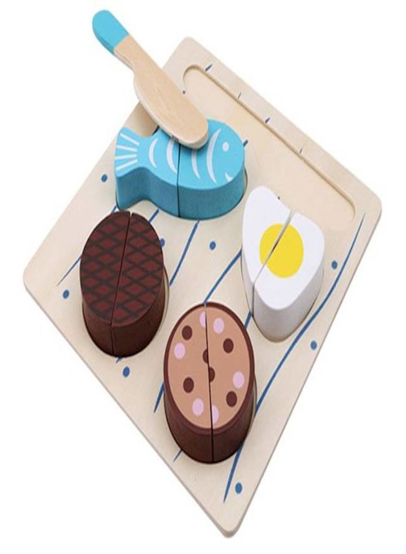 Wooden Puzzle Fruit Vegetables Cutting Game Educational Toy