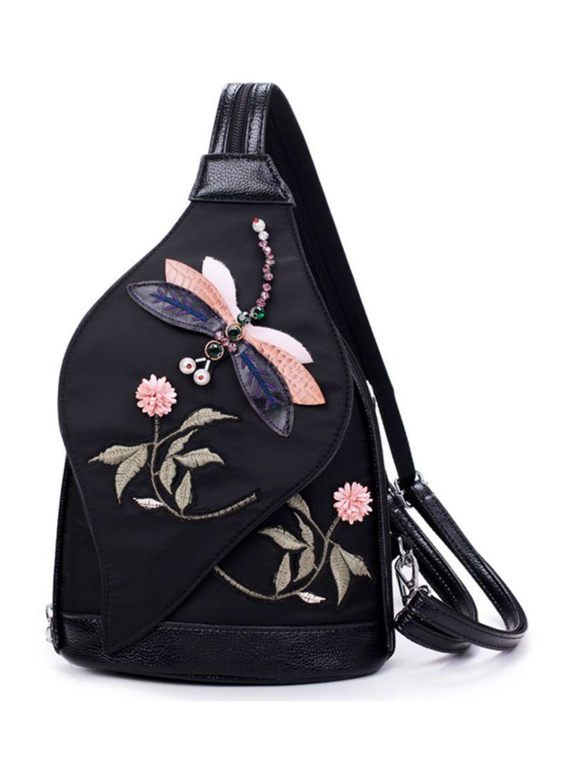 3D Diamond Dragonfly Wo Shoulder Bag Embroidery Flower  Backpacks School Bag