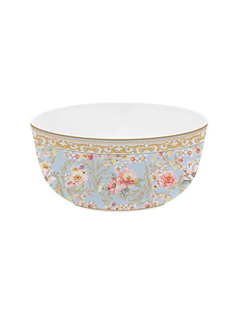 Majestic Flowers Cereal Bowl Light Blue/Gold 14 centimeter