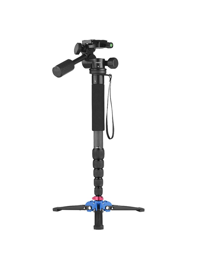 Portable Carbon Fiber 6-Section Monopod With 3 Way Camera Video Damping Head Unipod Holder Black