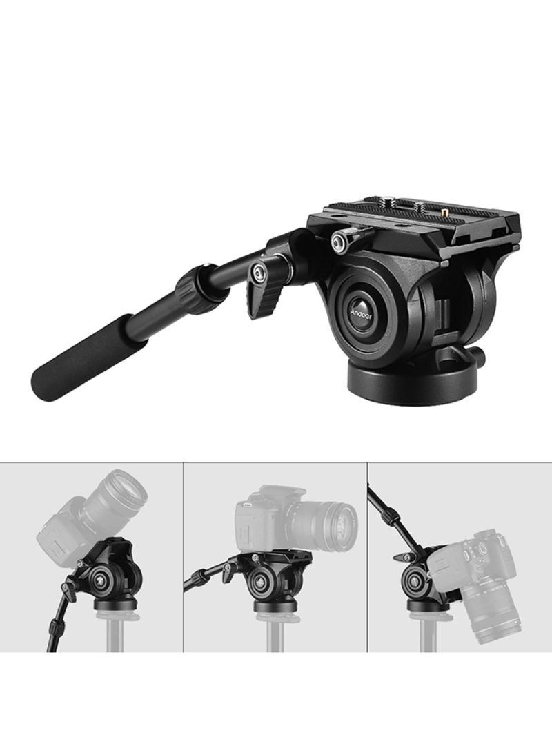 VH05 Camera Camcorder Tripod Head Fluid Drag Pan/Tilt Head With Quick Release Plate Support For Canon Nikon Sony A7 Panoramic Photo Video Black