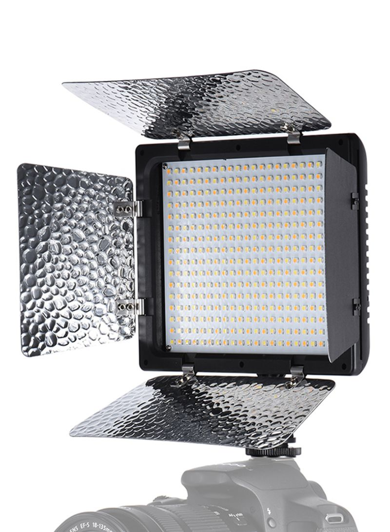 Adjustable Brightness Photography Light 368 LED Continuous Light Panel With Camera Mount And Filters Black