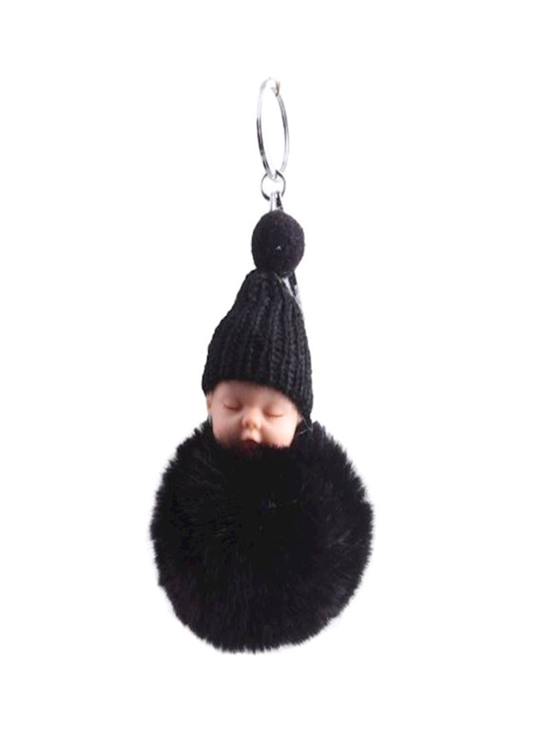 Sleeping Baby Doll Fake Fur Fluffy Ball Toys Keychain