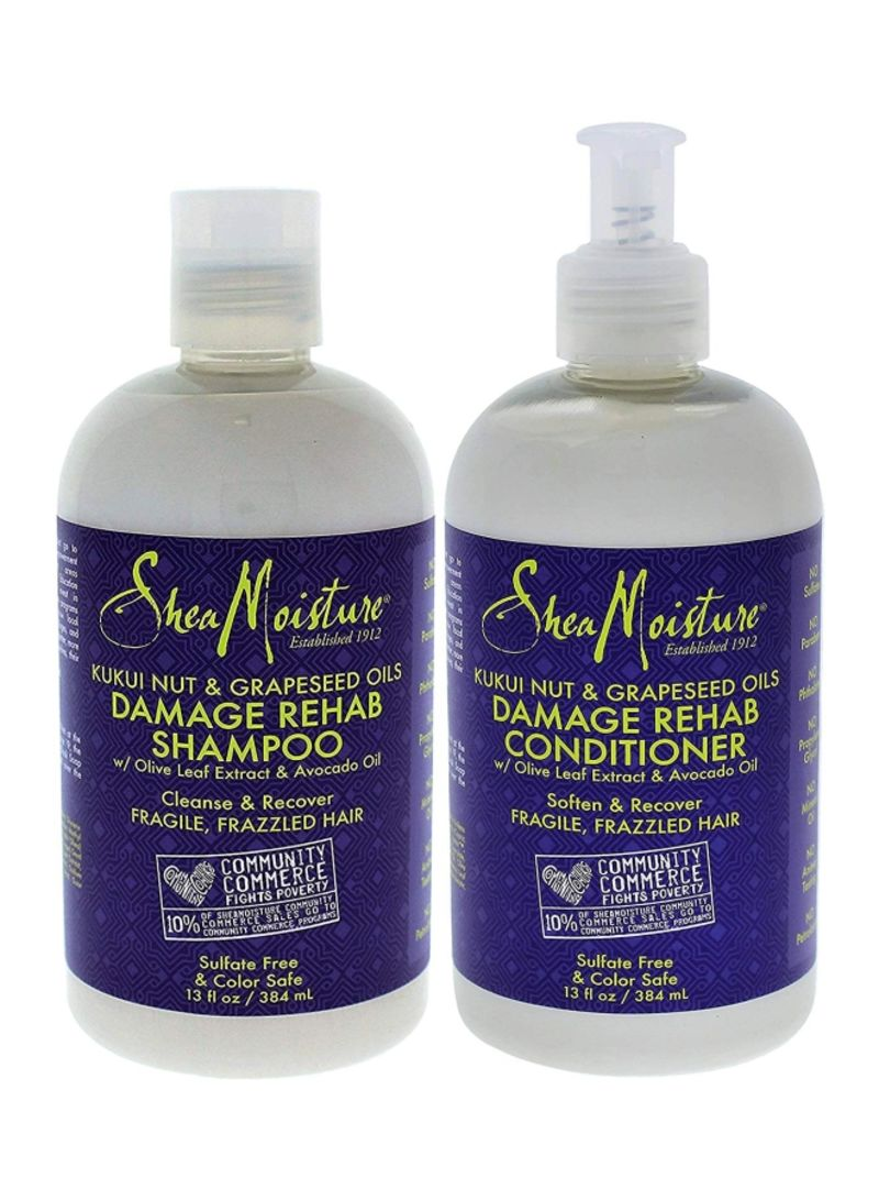 Kukui Nut And Grapeseed Oils Damage Rehab Shampoo And Conditioner 13 ounce