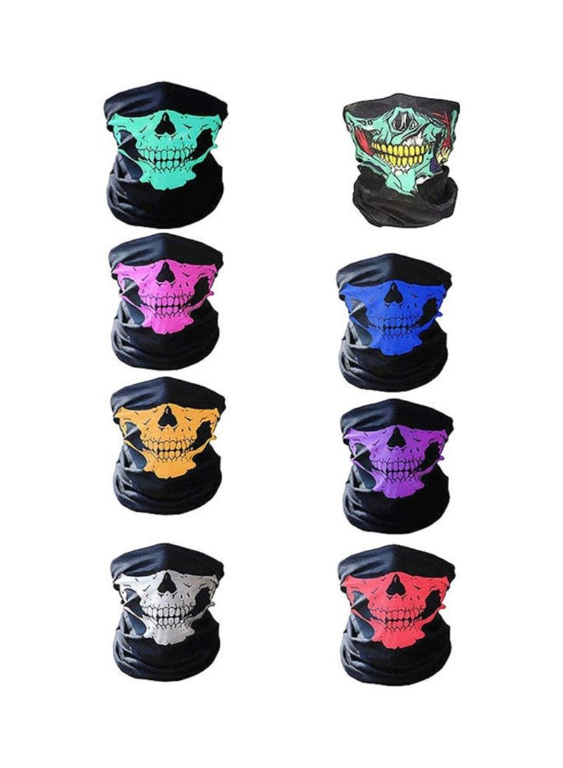 8-Piece Skull Multifunctional Elastic Headwear Bandana Multicolour