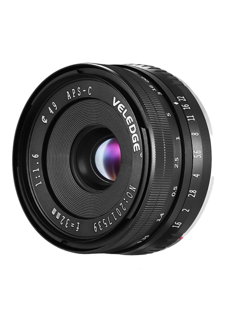 32mm F1.6 Large Aperture Manual Prime Fixed Lens For Sony APS-C E-Mount Digital Mirrorless Cameras Black