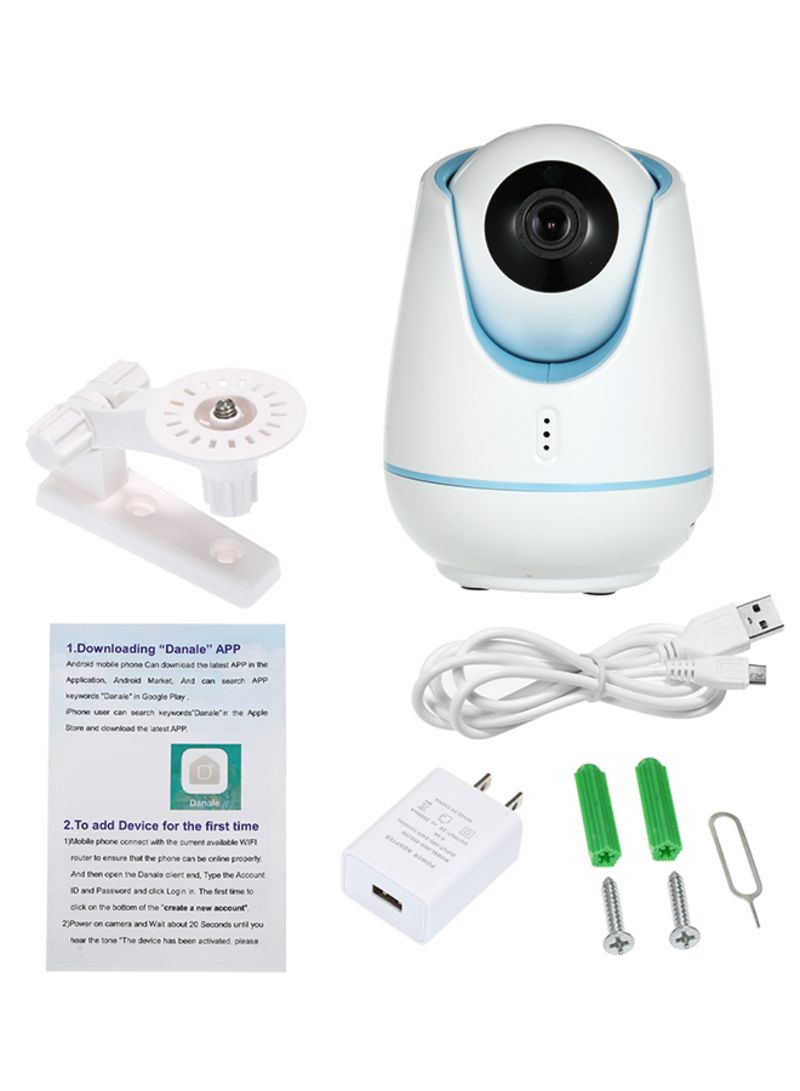 WIFI 1080P 2 Way Audio Night Vision Pan Tilt CCTV IP Camera Blue/White