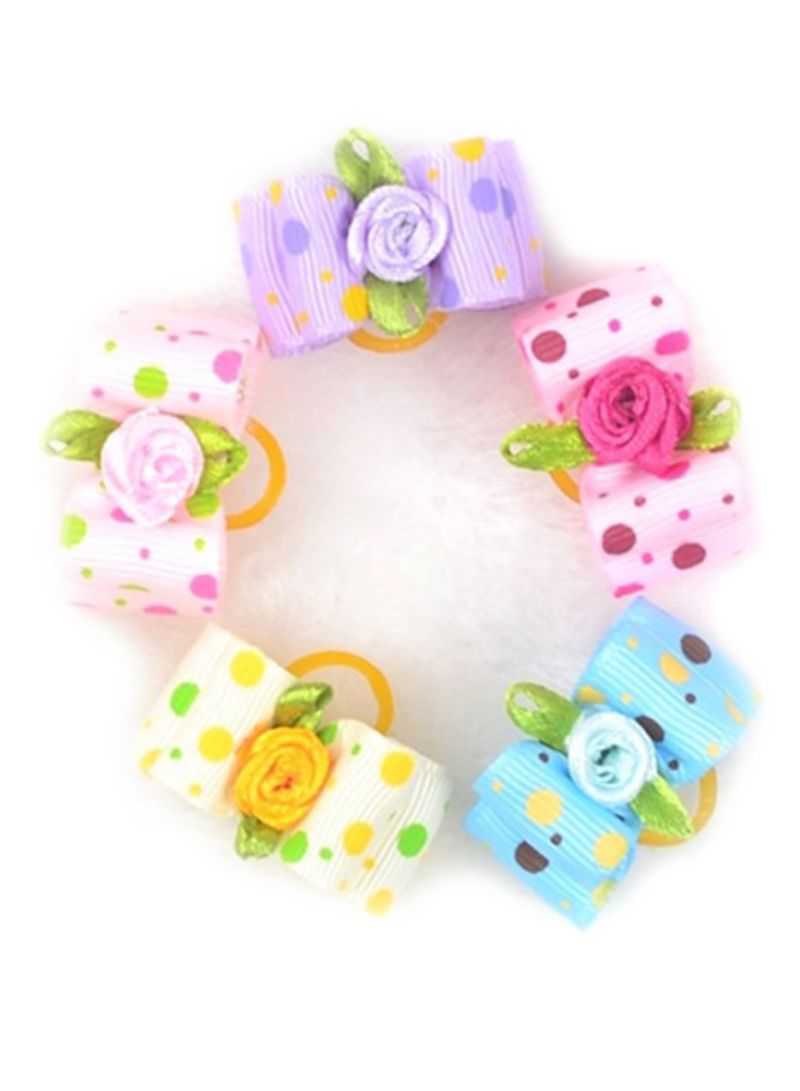 5 Piece Pet Jewelry Bow Headwear Multicolour 3x2 centimeter