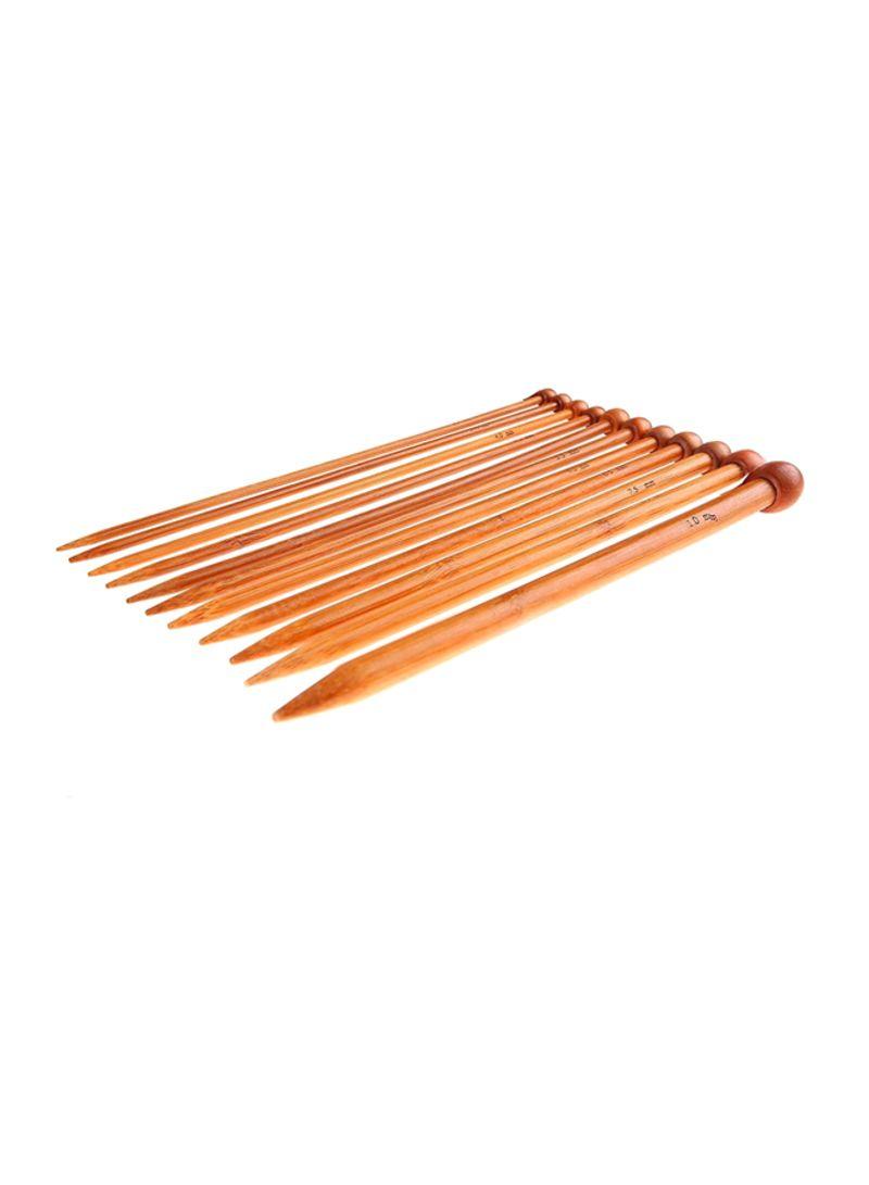 22-Piece Bamboo Knitting Needles Set With Storage Bag Brown/Pink