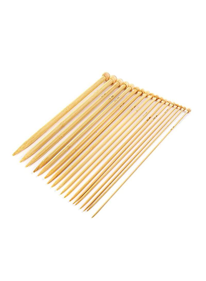 36-Piece Bamboo Knitting Needles Set Yellow 0.6x0.2x2.5 inch