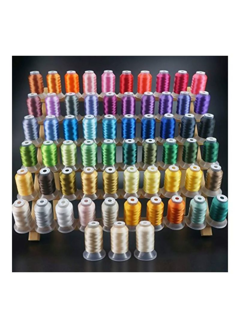 63-Piece Polyester Embroidery Machine Thread Kit Multicolour