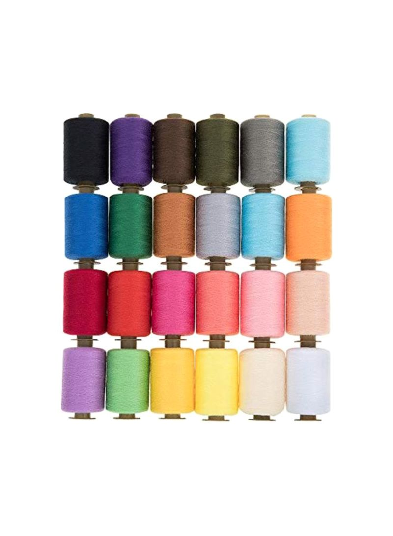 24-Piece Polyester Sewing Threads Multicolour 1000 yard