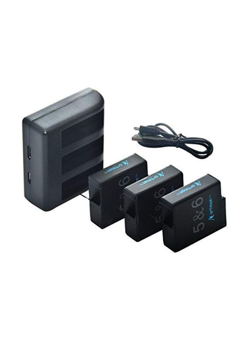 3-Piece Replacement Batteries With Charger For Go Pro Hero 5 Black 4480 mAh