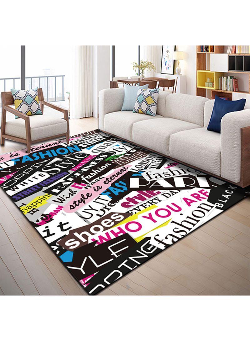 Letters Design Living Room Carpet Multicolour 40X60 centimeter
