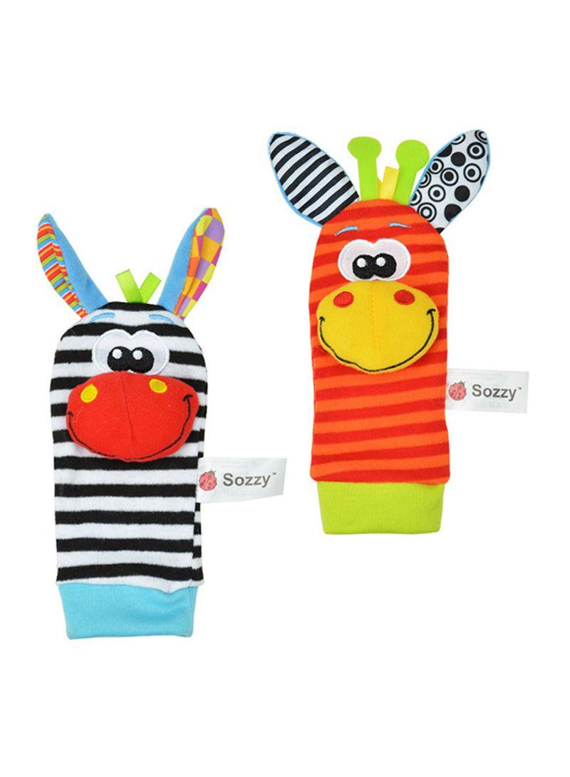 2-Piece Infant Socks And Wrist Rattles Soft Toys Set