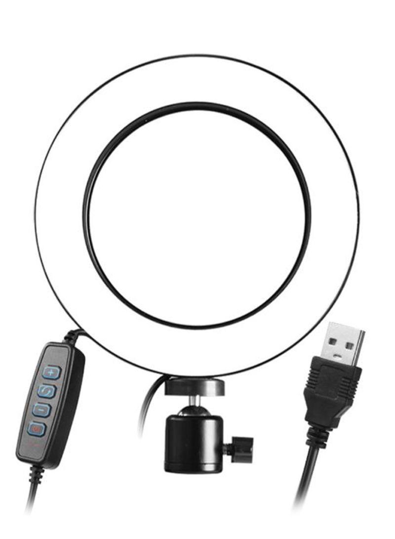 Selfie Camera LED Lamp With Telescopic Tripod Black/White
