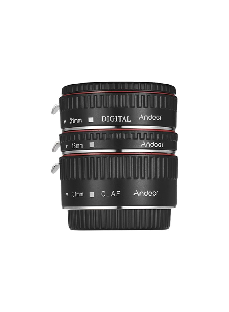 3-Piece Extension Tube Set For Canon EOS 35mm Lens Black/Red