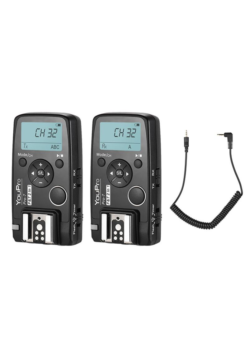 Pro-7 Wireless Flash Trigger With Shutter Remote Black