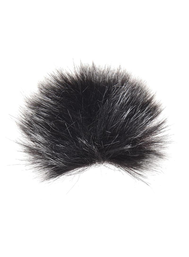 3-Piece Lapel Lavalier Fur Microphone Windshield Black