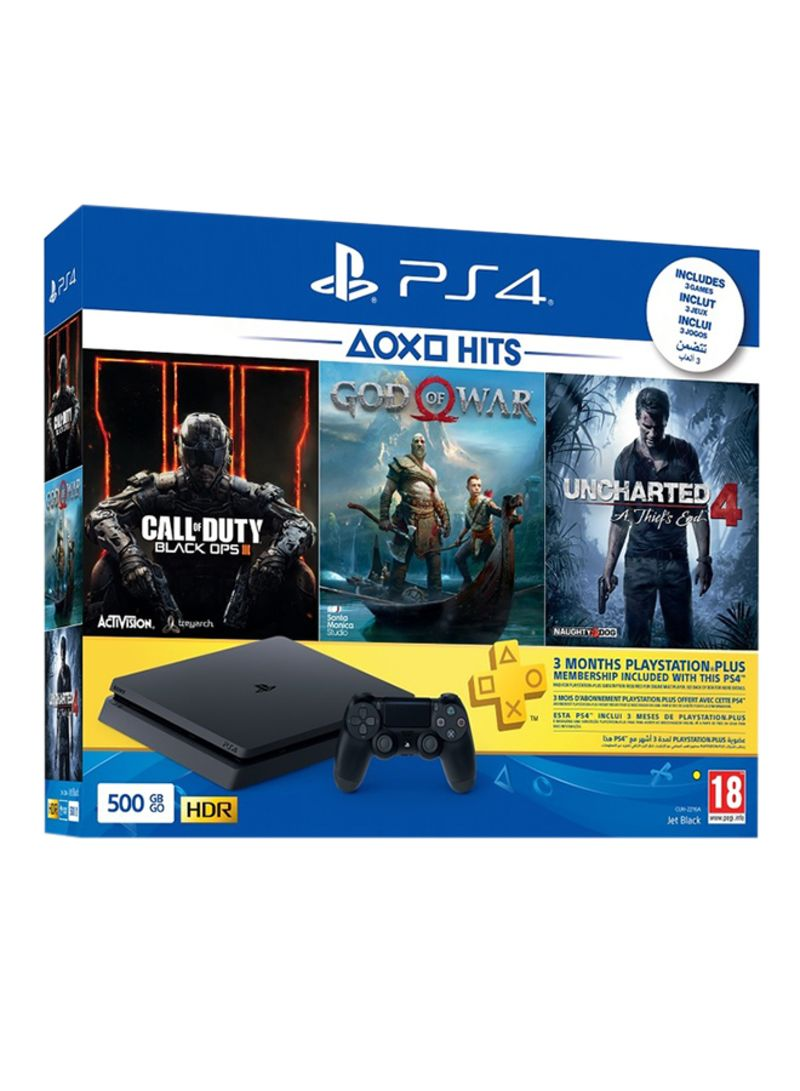 PlayStation 4 500GB Console With 3 Games (Uncharted 4: A Thief's End, God Of War, Call Of Duty: Black Ops 3) + 3 Months PlayStation Plus Membership