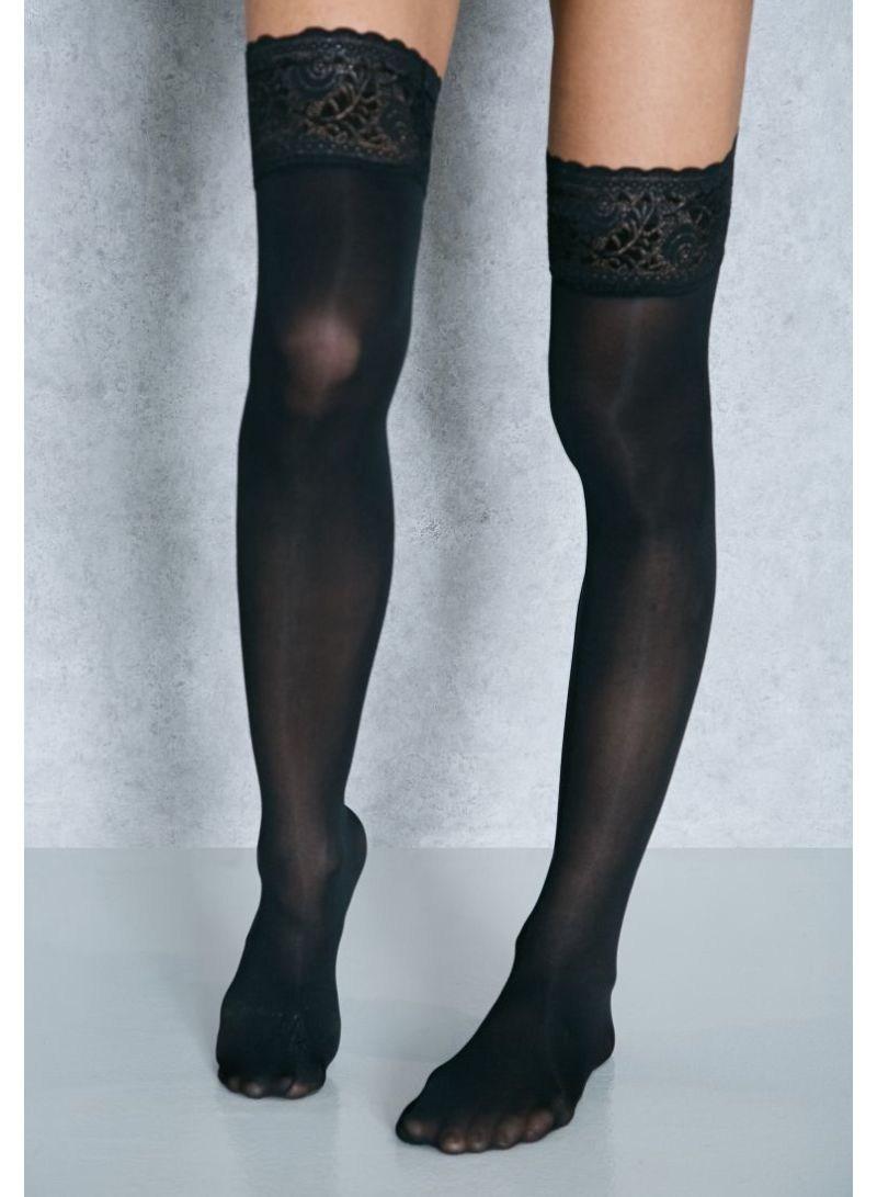 Lace Hold Ups Black
