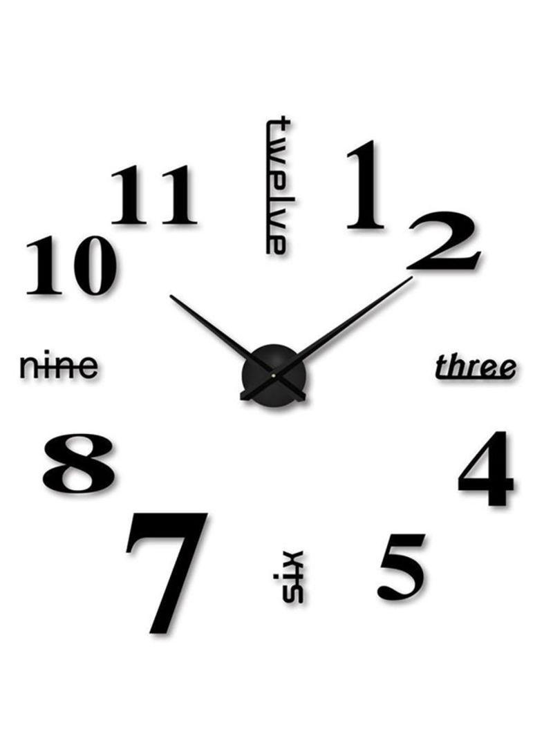 DIY  Mounted  Modern Unique Numbers Design Decorative Wall Clock Black 28x28 centimeter